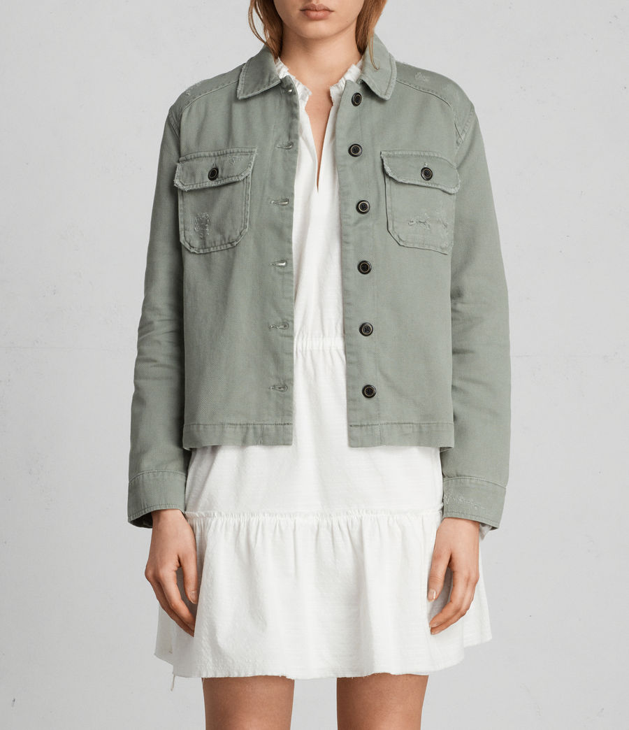 Womens Jemma Military Shirt (khaki_green) - Image 1