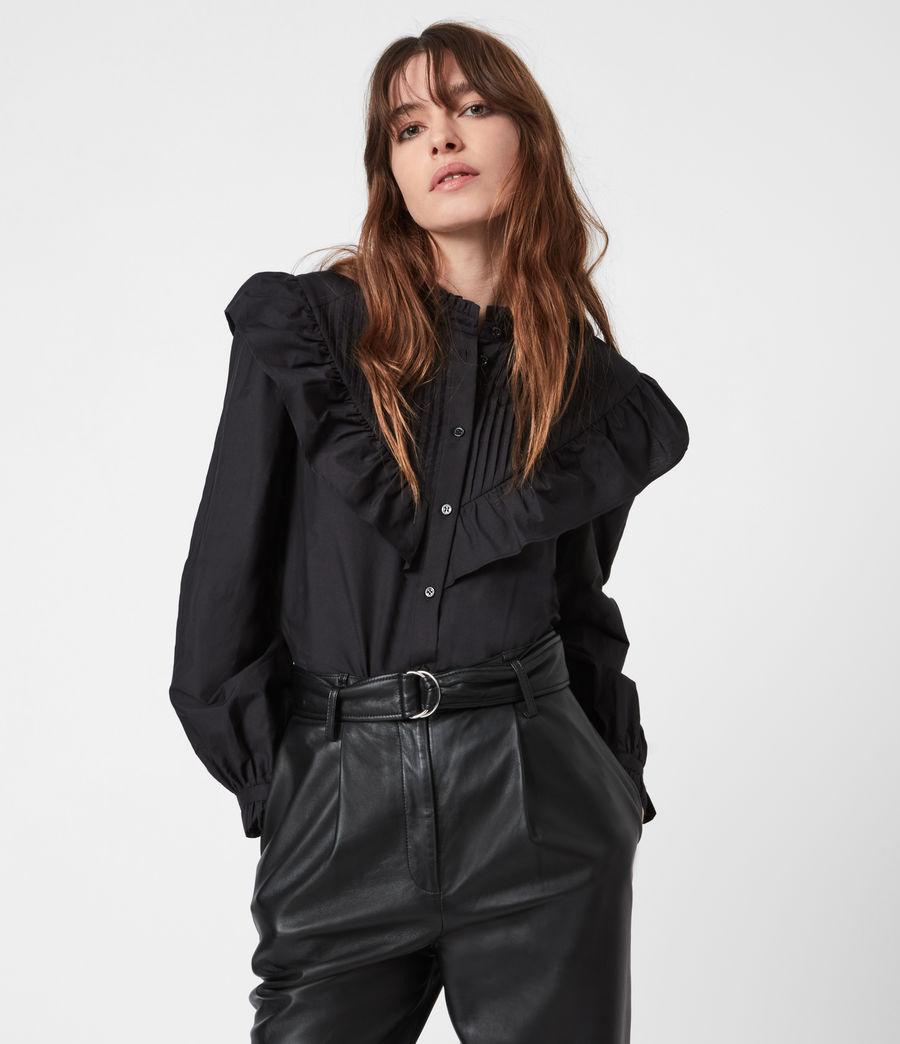 Damen Fiala Rüschen Hemd (black) - Image 1