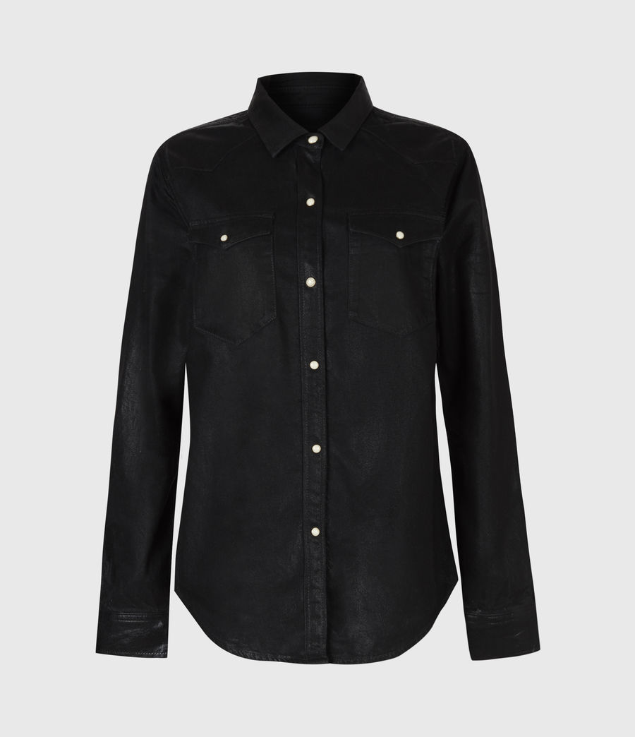 Damen Hazel Beschichtetes Hemd (black) - Image 2