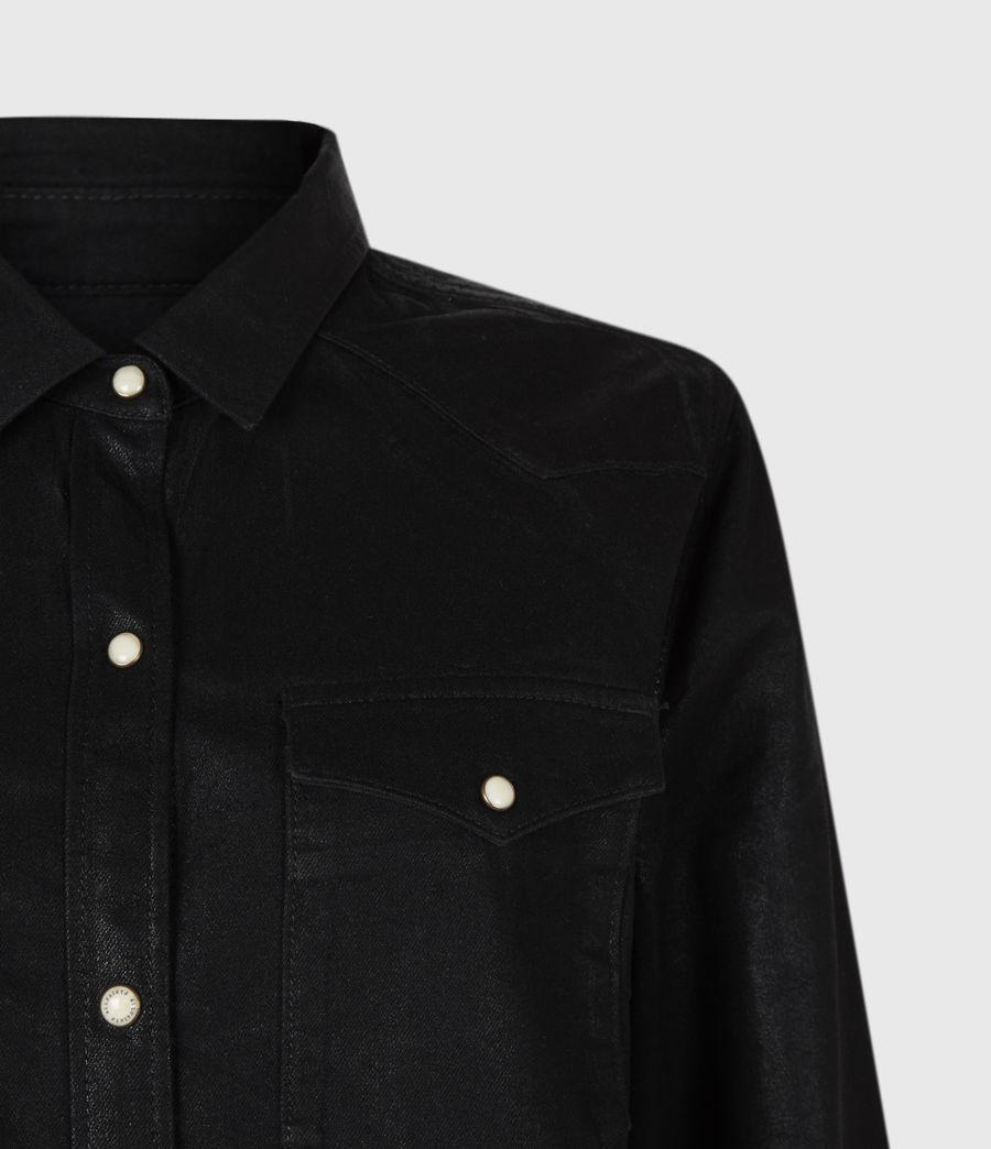 Women's Hazel Coated Denim Shirt (black) - Image 4
