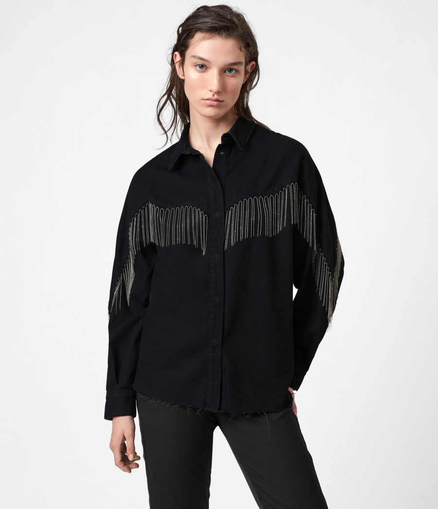 Women's Sandra Jaine Denim Shirt (black) - Image 4