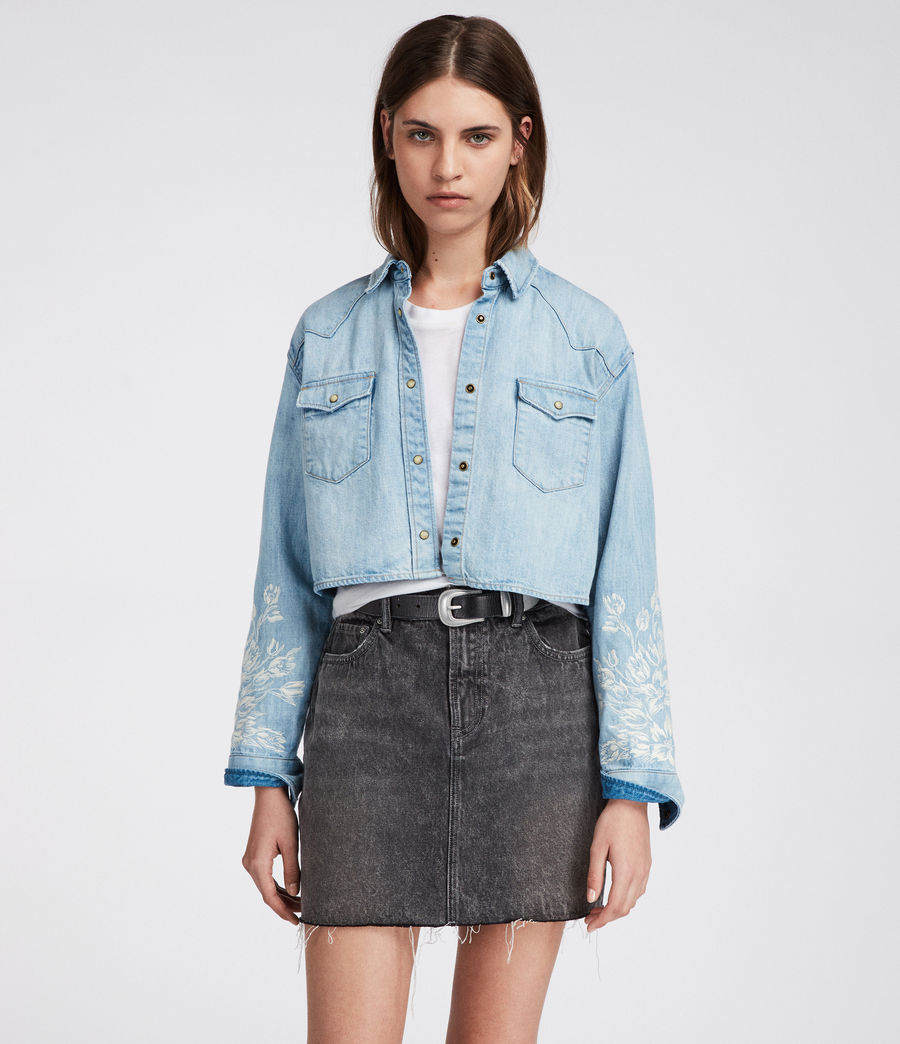 524675b21d ALLSAINTS US  Womens Flora Cannon Shirt (light indigo blue)