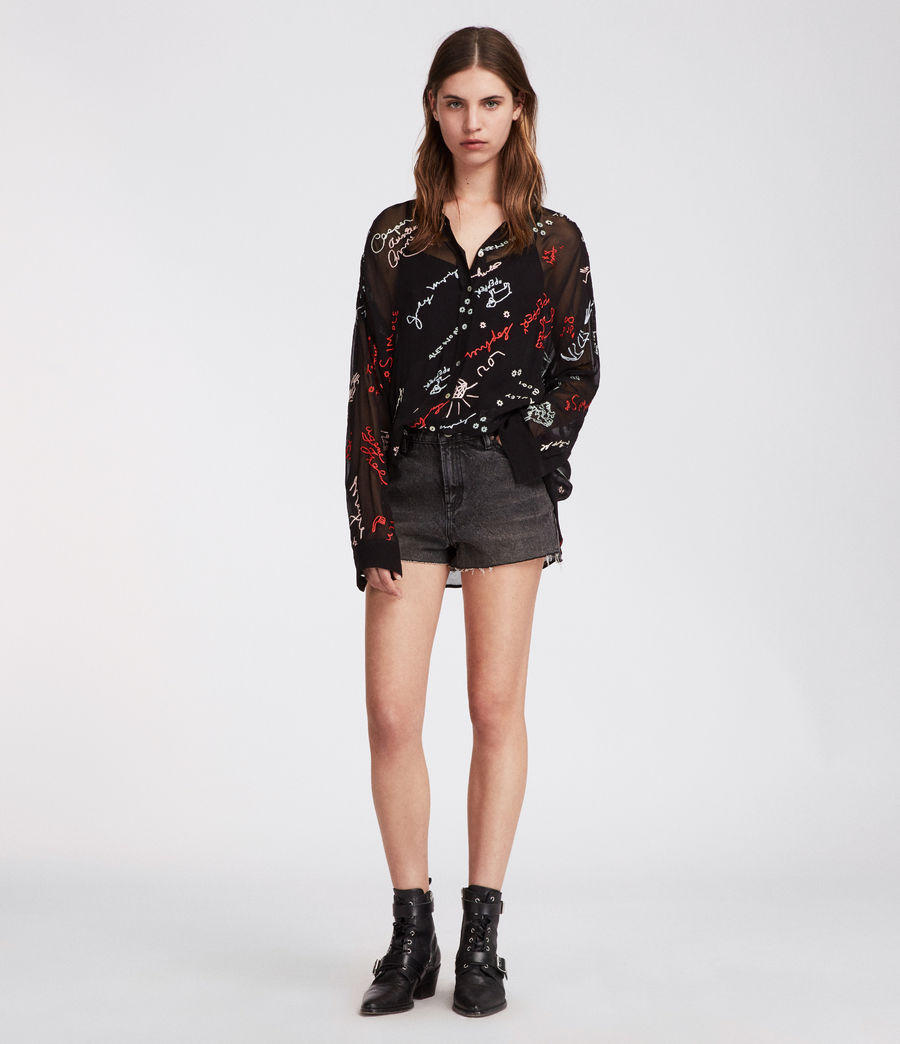 Women's Kyra Graff Shirt (black) - Image 2