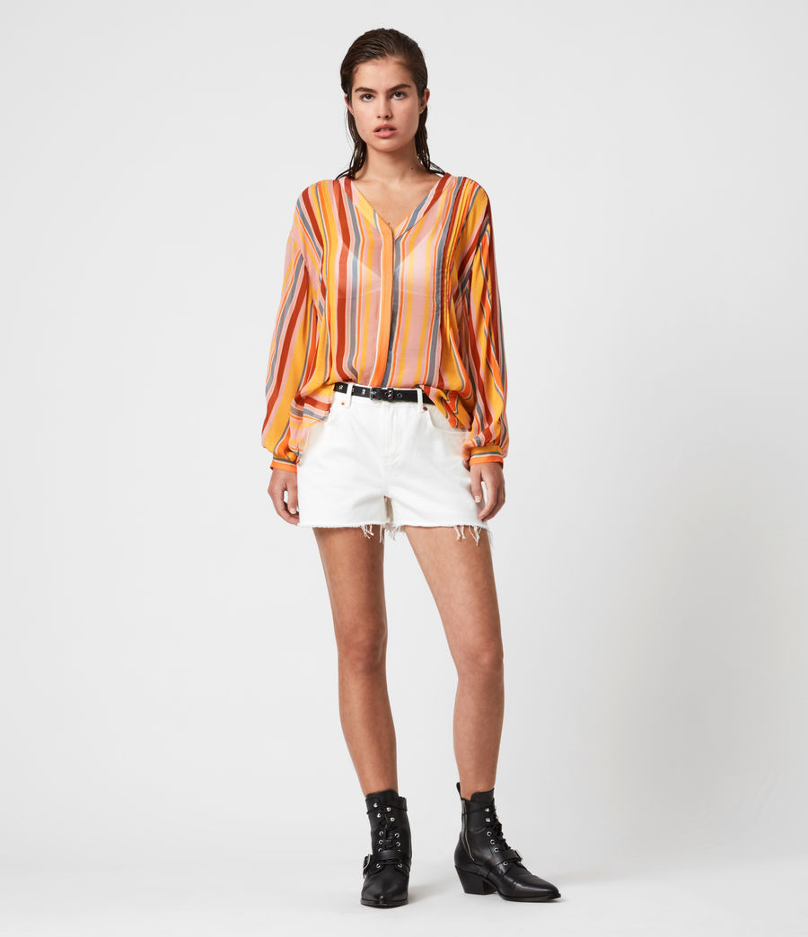 Womens Adra Stripe Shirt (orange_pink) - Image 1