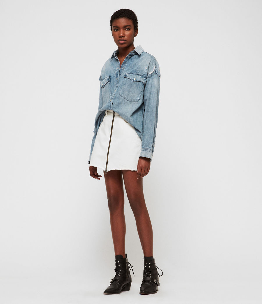 Women's Tyla Destroys Denim Shirt (indigo_blue) - Image 1