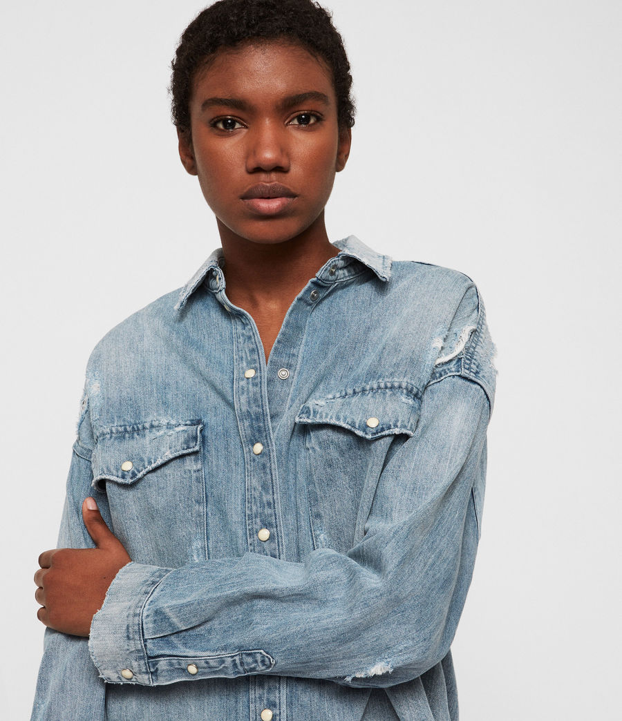 Women's Tyla Destroys Denim Shirt (indigo_blue) - Image 2