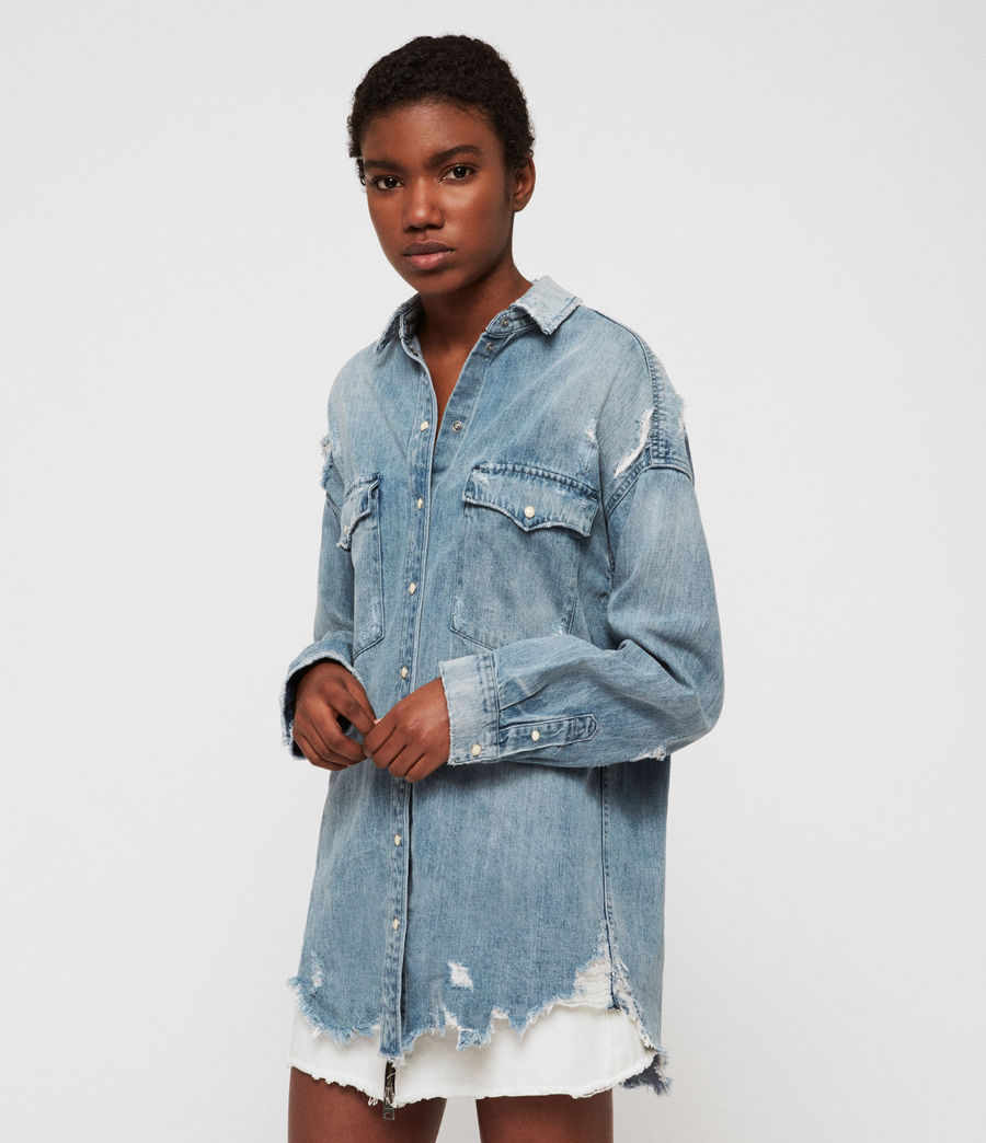 Womens Tyla Destroys Denim Shirt (indigo_blue) - Image 3