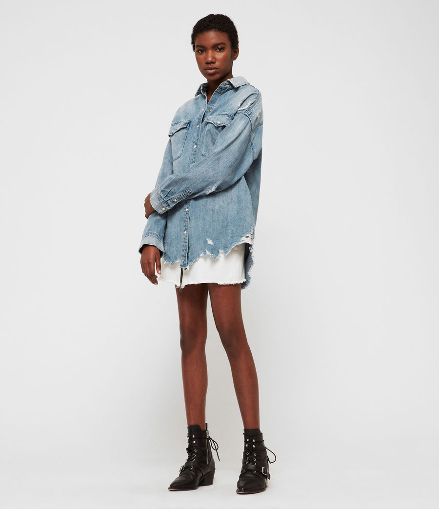 Womens Tyla Destroys Denim Shirt (indigo_blue) - Image 4