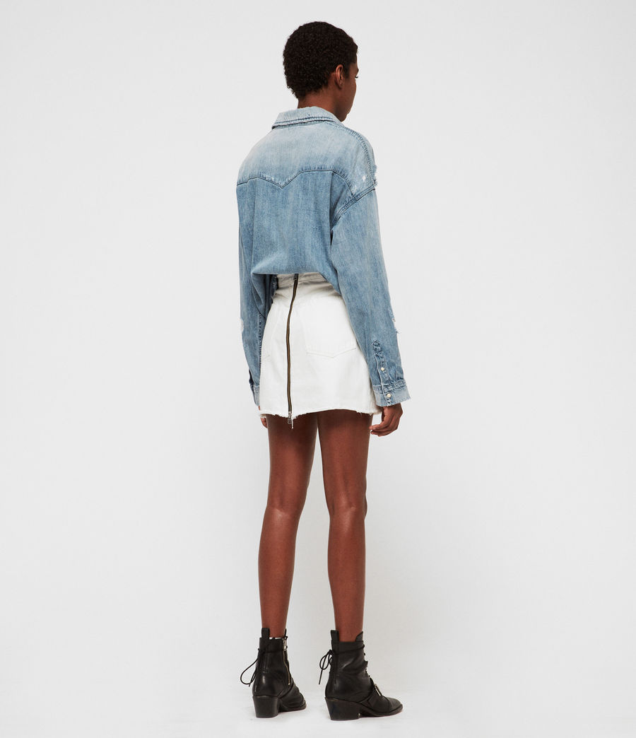 Women's Tyla Destroys Denim Shirt (indigo_blue) - Image 5
