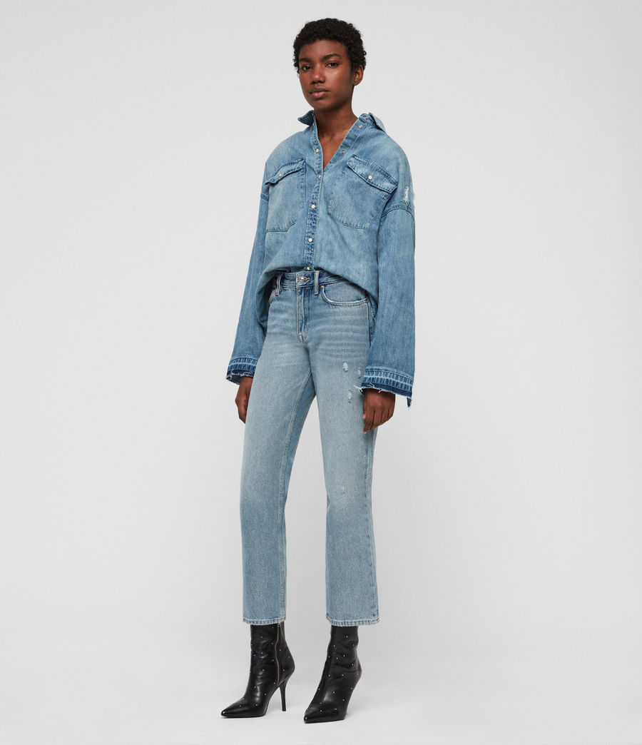 Women's Harper Oversized Denim Shirt (indigo_blue) - Image 1