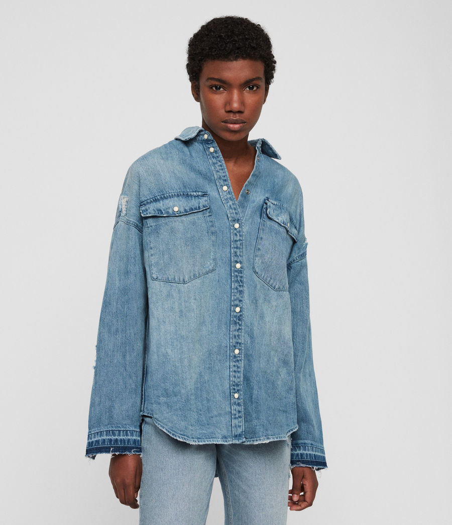 Women's Harper Oversized Denim Shirt (indigo_blue) - Image 2