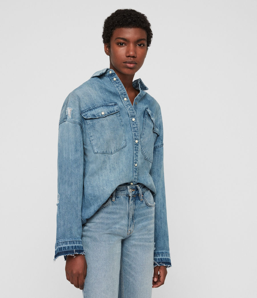 Women's Harper Oversized Denim Shirt (indigo_blue) - Image 4
