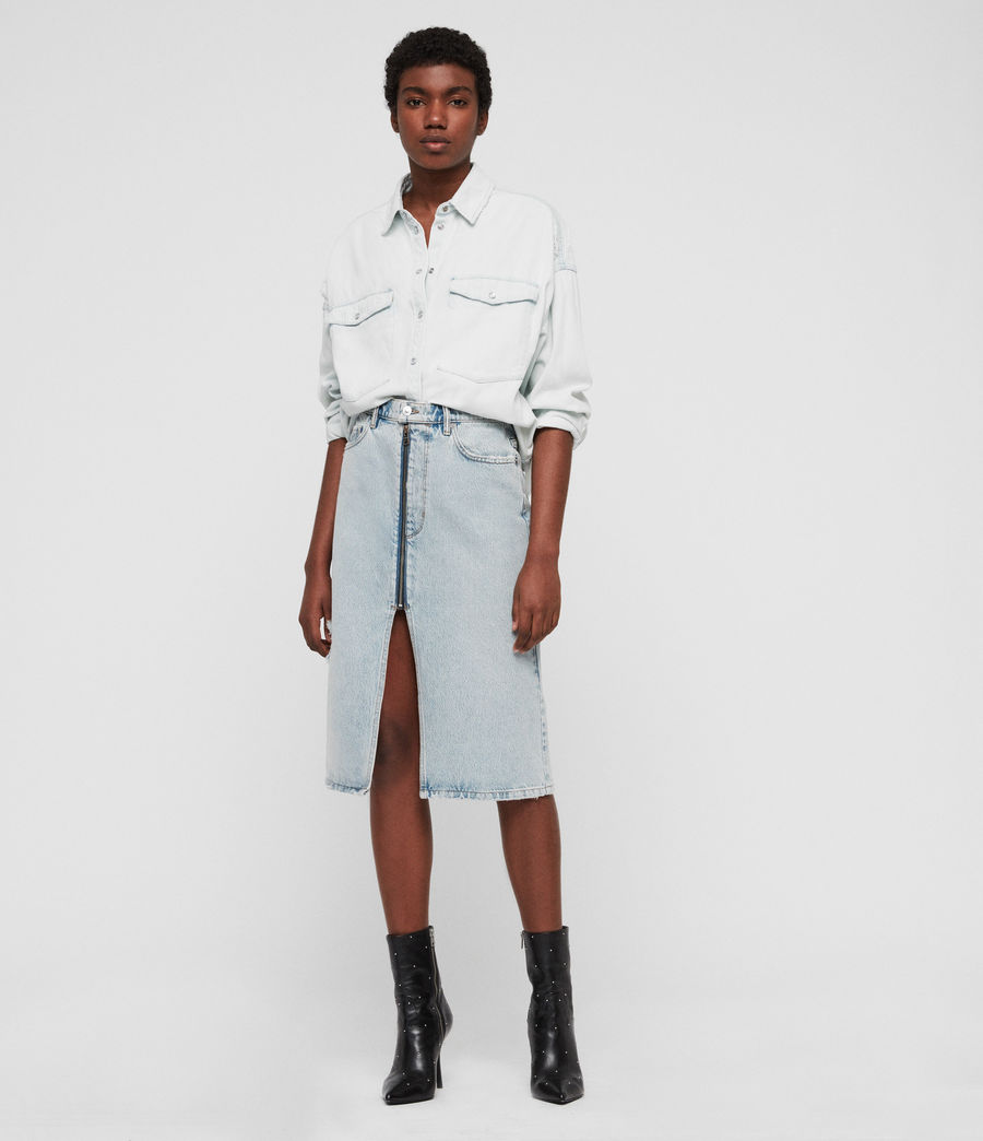 Women's Harper Oversized Denim Shirt (bleach_indigo_blue) - Image 1