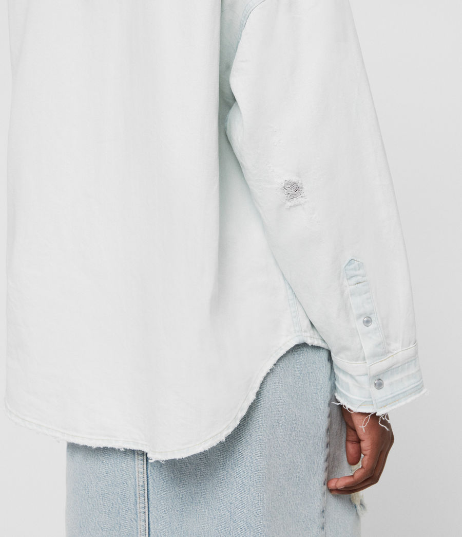 Women's Harper Oversized Denim Shirt (bleach_indigo_blue) - Image 3