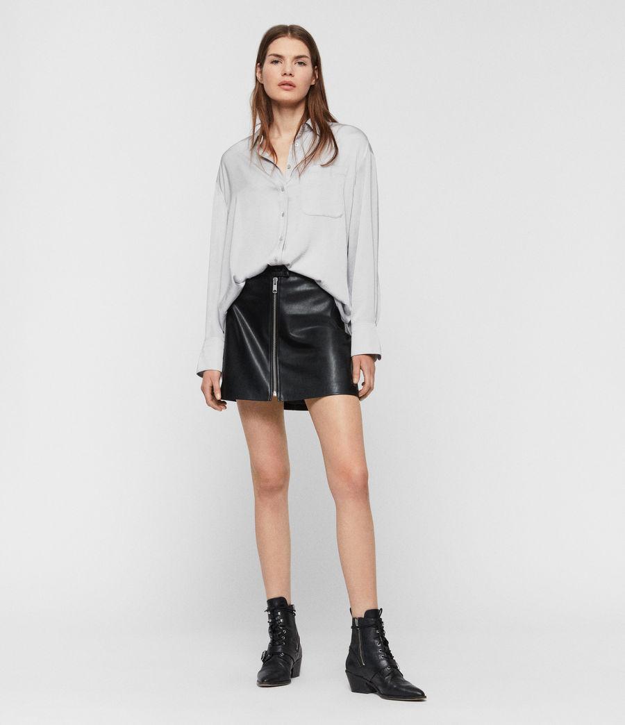 Womens Bernie Satin Shirt (pale_grey) - Image 1
