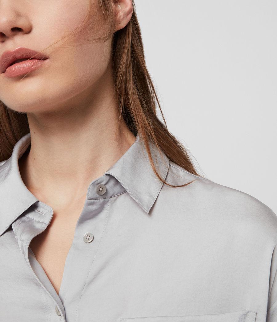 Womens Bernie Satin Shirt (pale_grey) - Image 3