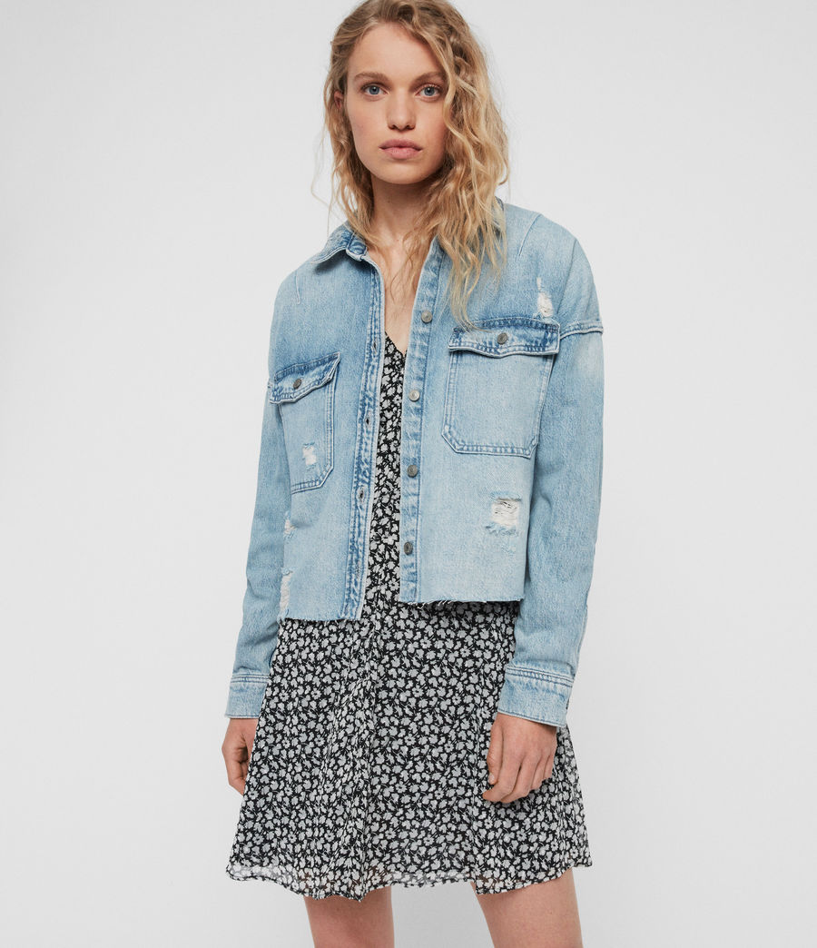 Womens Kyrie Denim Shirt Jacket (light_indigo_blue) - Image 1