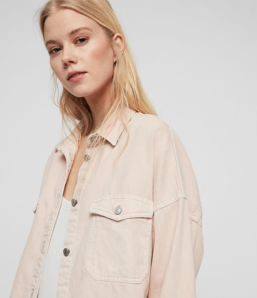 Women's Kyrie Denim Shirt Jacket (pale_pink) - Image 3