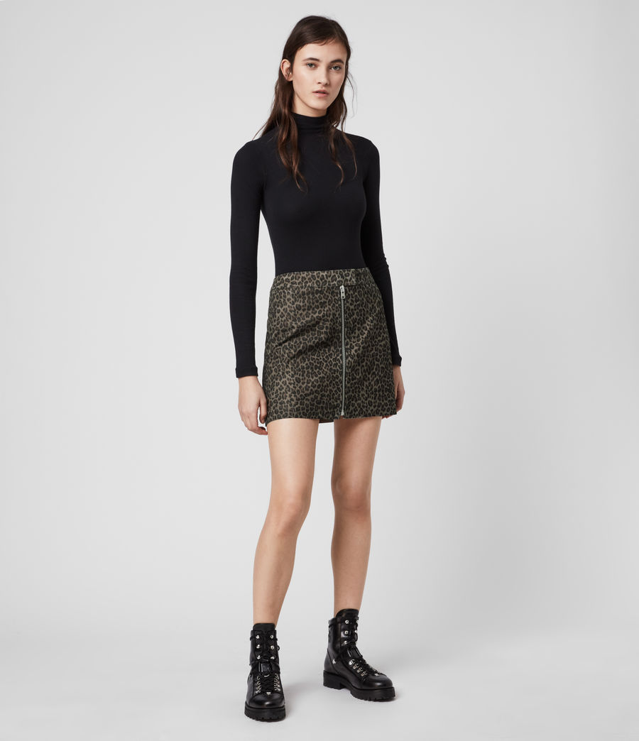 Mujer Lena Leo Suede Skirt (leopard_brown) - Image 1