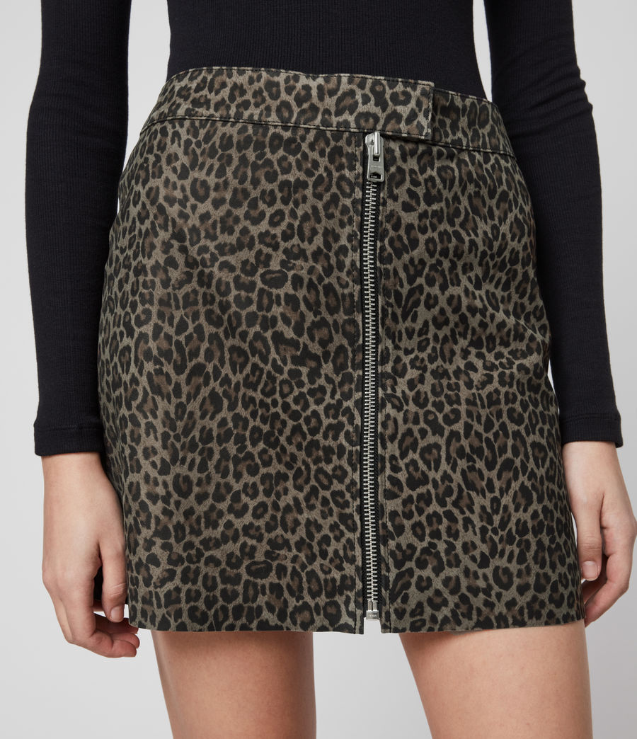 Mujer Lena Leo Suede Skirt (leopard_brown) - Image 2