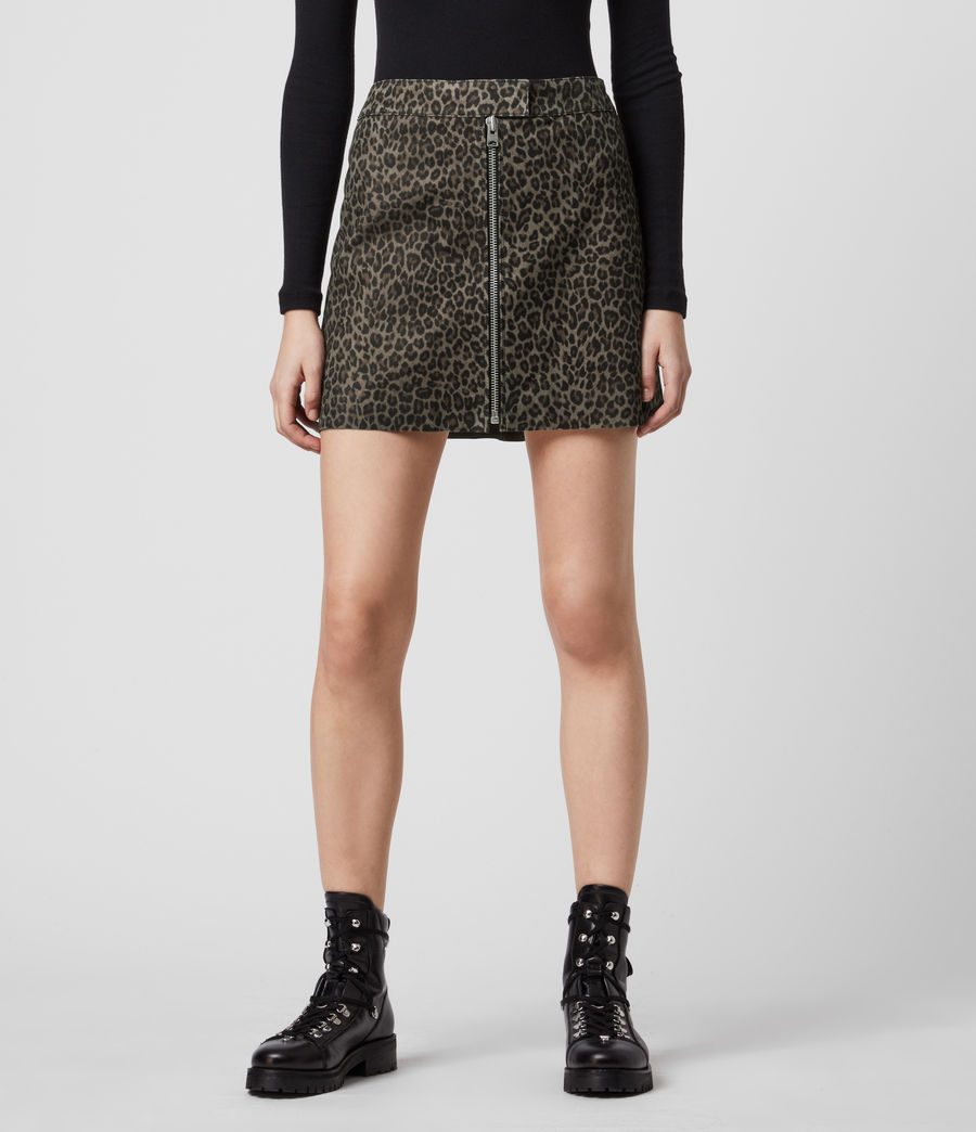 Mujer Lena Leo Suede Skirt (leopard_brown) - Image 3