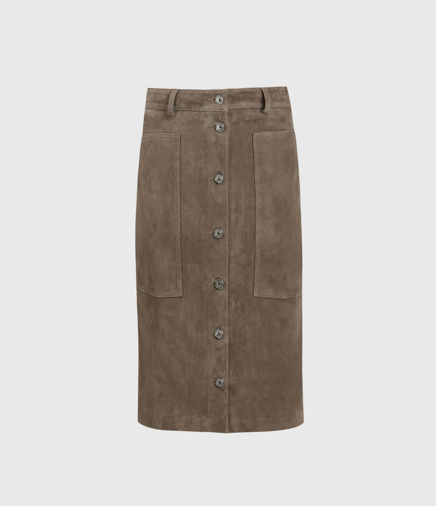 Women's Lorel Suede Midi Skirt (gravel_grey) - Image 1