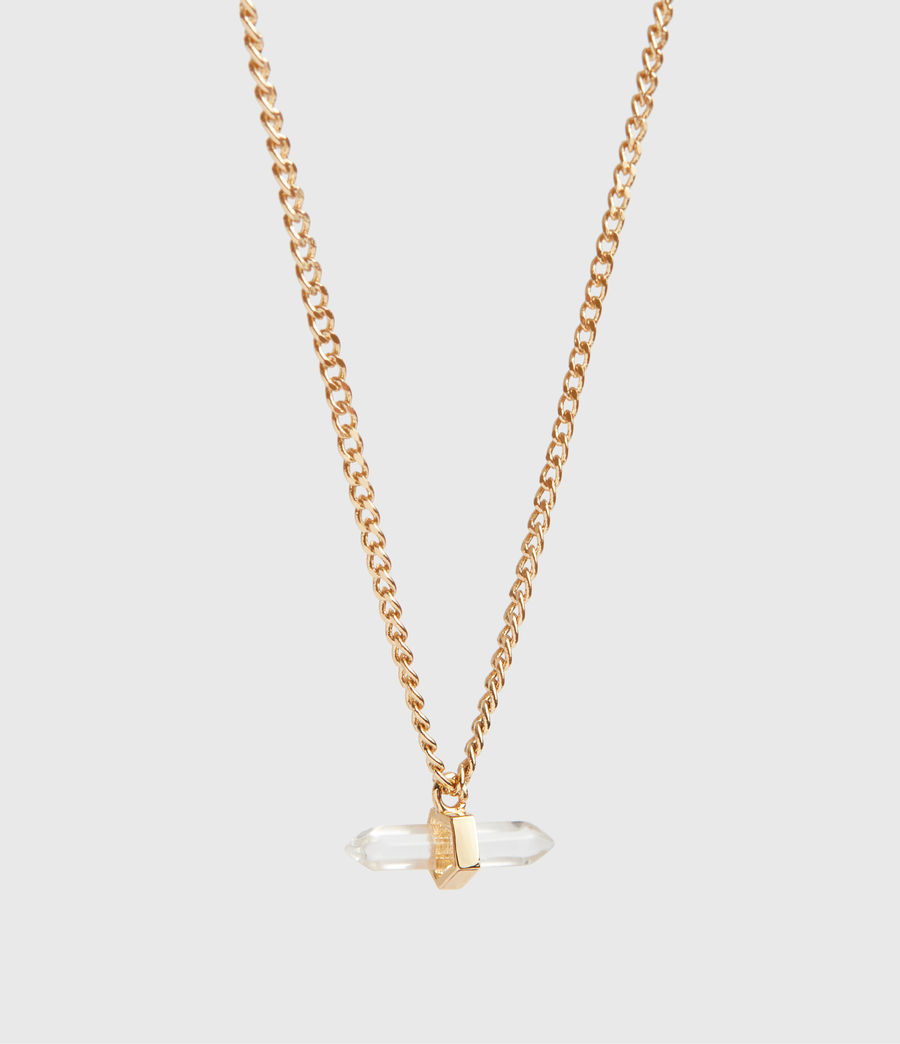 Women's Layla Gold Tone Semi-Precious Crystal Quartz Necklace (gold) - Image 3