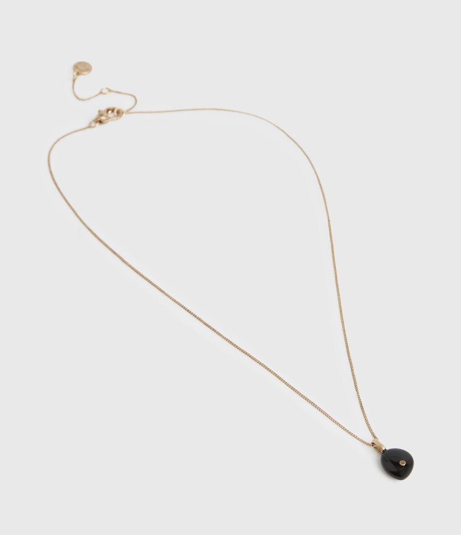 Women's Stone Gold-Tone Pendant Necklace (black_warm_brass) - Image 3