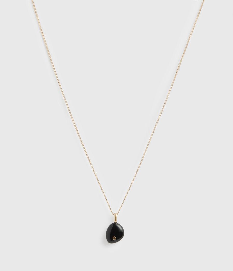 Women's Stone Gold-Tone Pendant Necklace (black_warm_brass) - Image 4