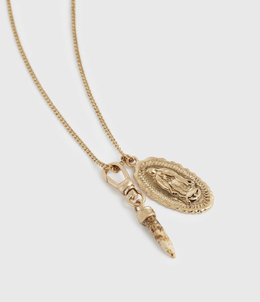 Women's Horn Gold-Tone Saint Pendant Necklace (warm_brass) - Image 1