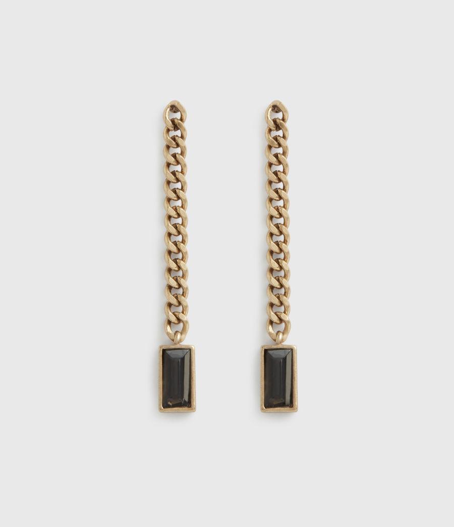 Womens Cyan Gold-Tone Drop Earrings (warm_brass) - Image 2