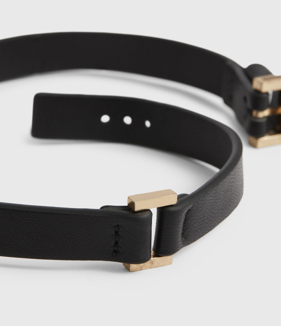 Womens Pallas Leather Cuff Bracelet (black_warm_brass) - Image 3