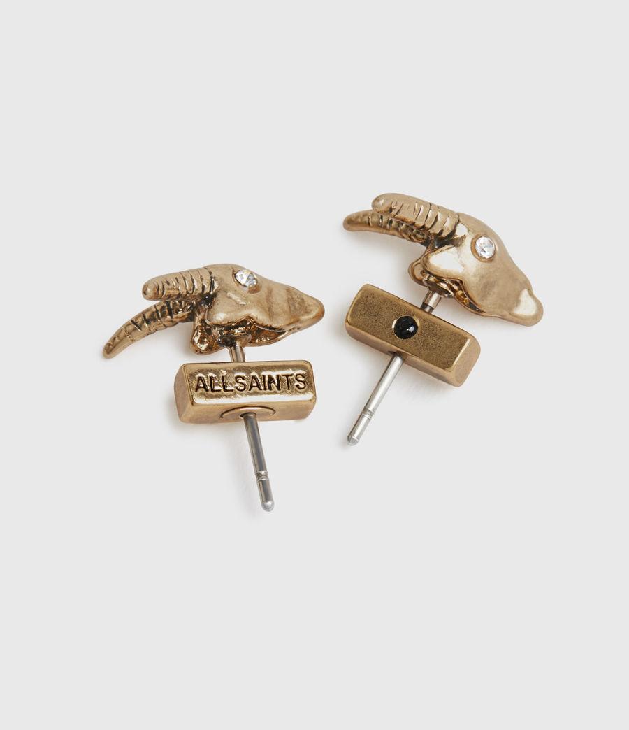 Womens Ram Gold-Tone Stud Earrings (warm_brass) - Image 4