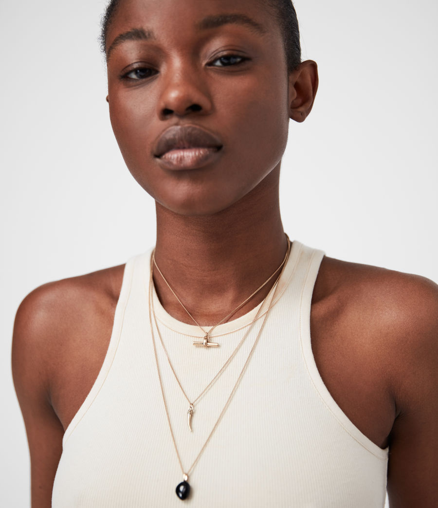 Women's Triple Gold-Tone Pendant Layered Necklace (black_warm_brass) - Image 1