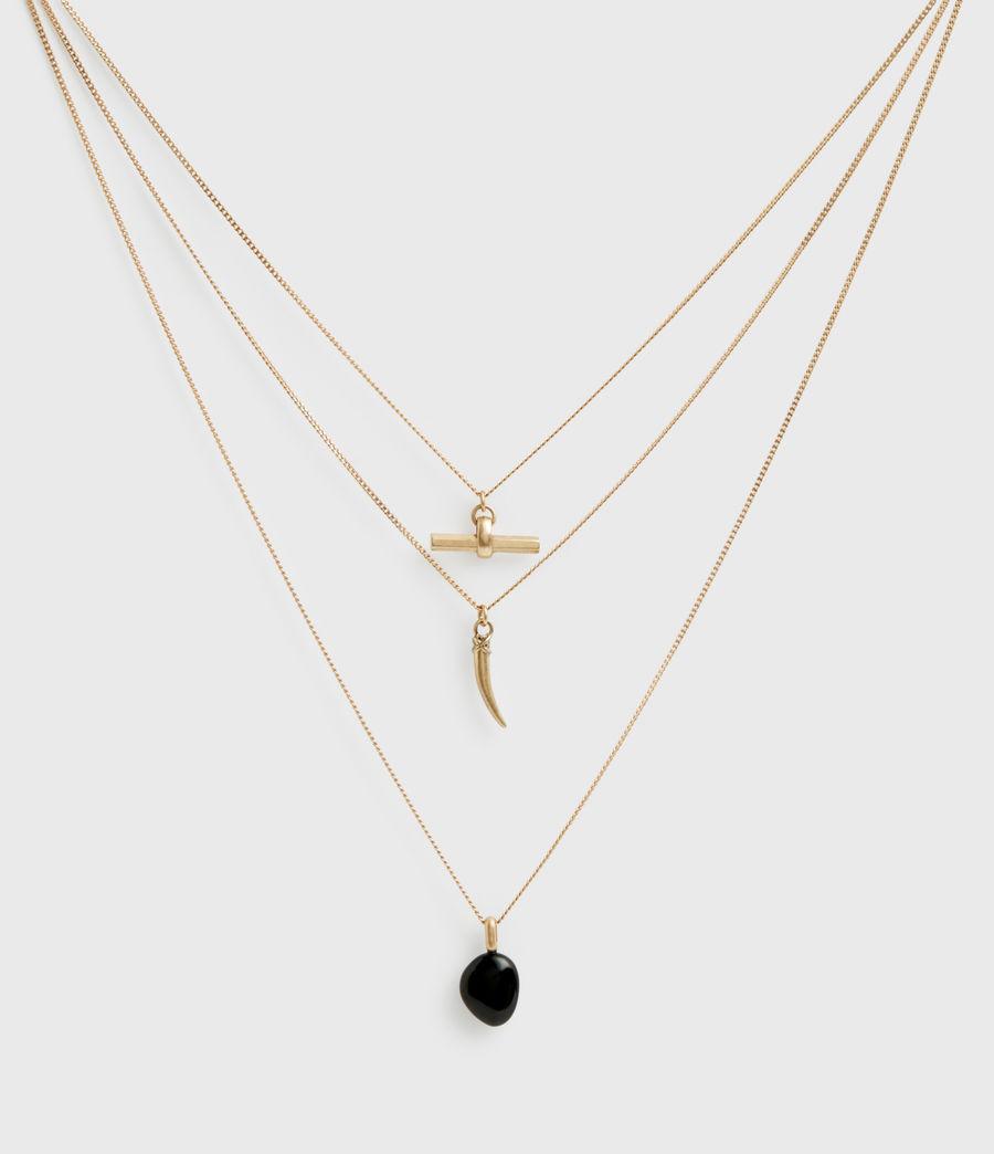 Women's Triple Gold-Tone Pendant Layered Necklace (black_warm_brass) - Image 3
