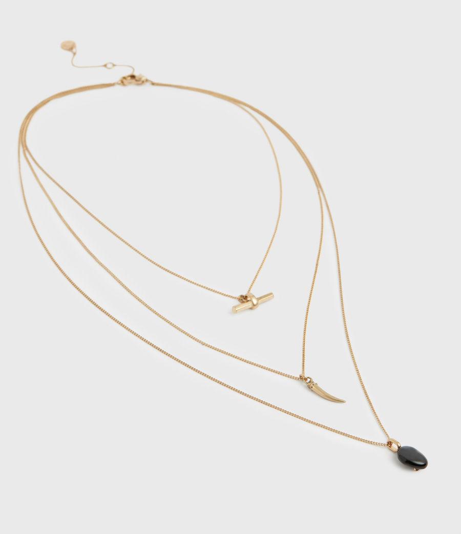 Women's Triple Gold-Tone Pendant Layered Necklace (black_warm_brass) - Image 4