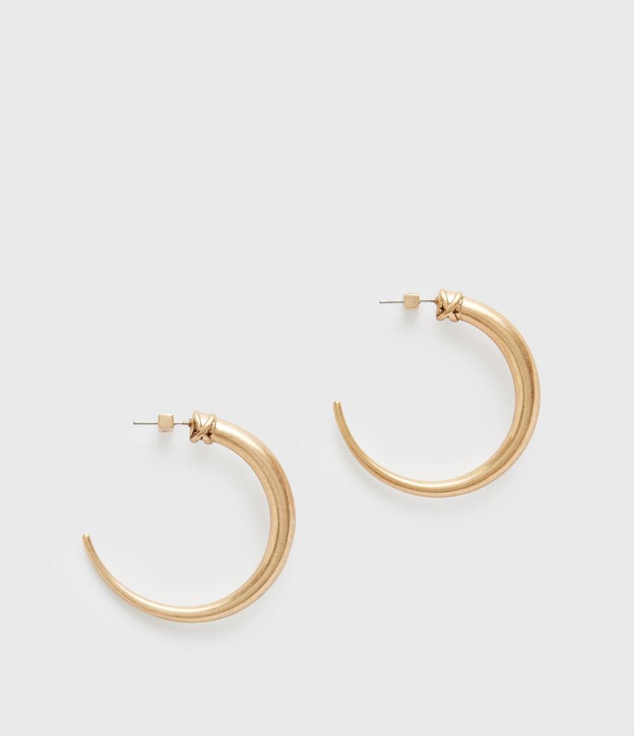 Women's Horn Taper Gold-Tone Hoop Earrings (warm_brass) - Image 3