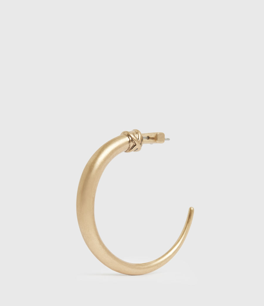 Women's Horn Taper Gold-Tone Hoop Earrings (warm_brass) - Image 4