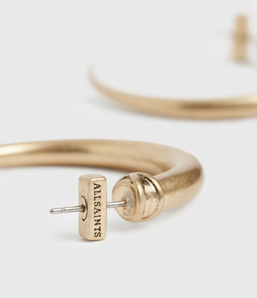 Women's Horn Taper Gold-Tone Hoop Earrings (warm_brass) - Image 5