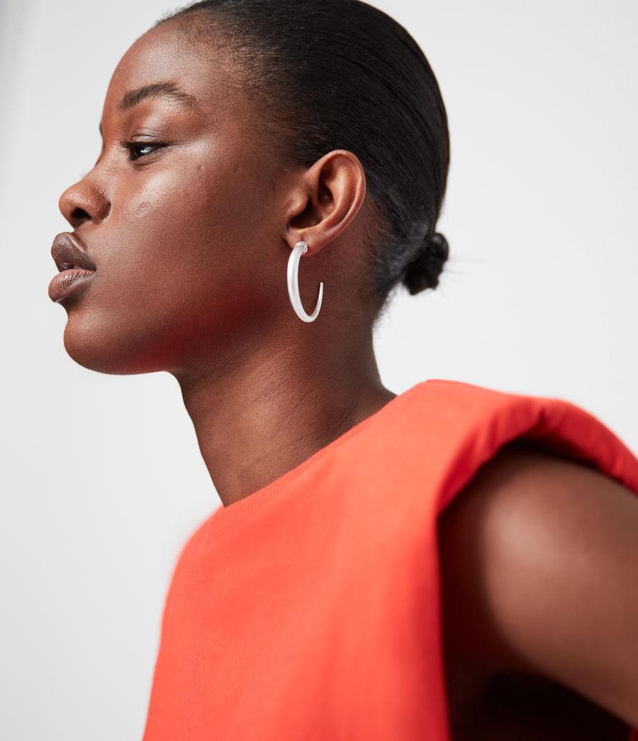 Women's Horn Taper Silver-Tone Hoop Earrings (warm_silver) - Image 1
