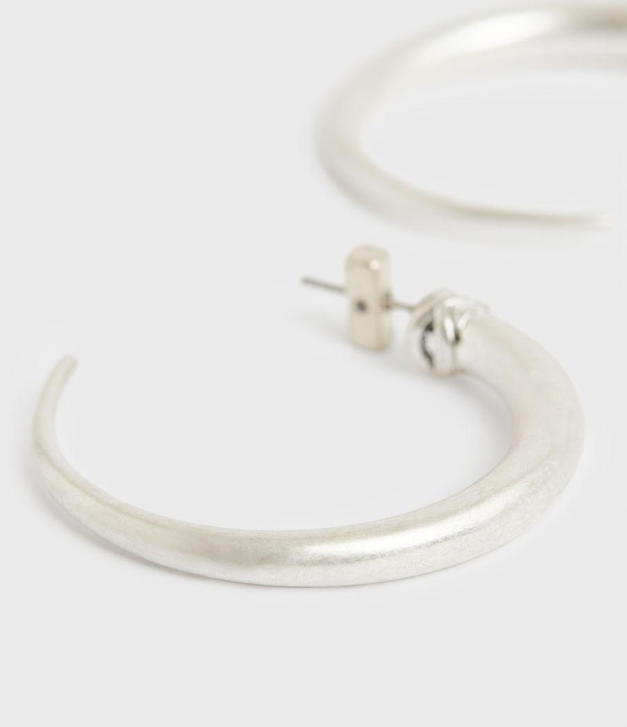 Women's Horn Taper Silver-Tone Hoop Earrings (warm_silver) - Image 2
