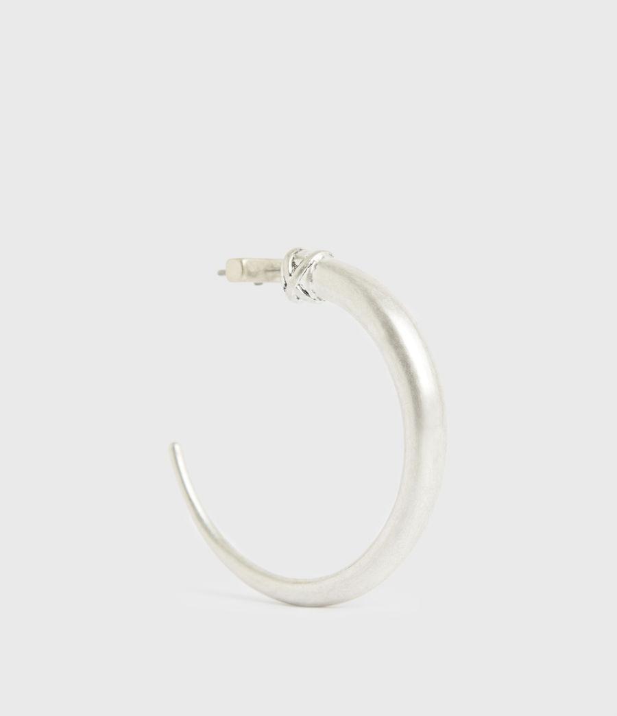 Women's Horn Taper Silver-Tone Hoop Earrings (warm_silver) - Image 4