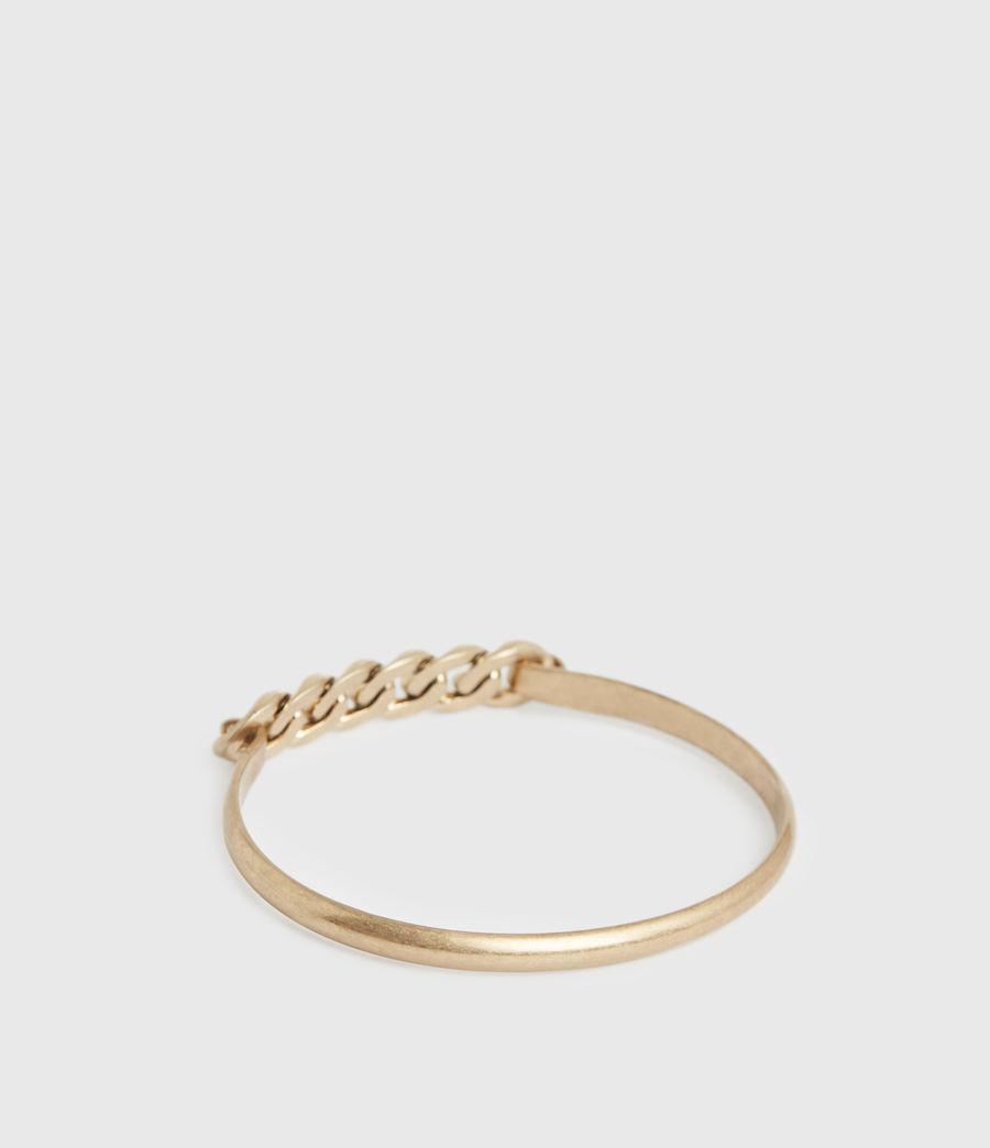 Women's Frozen Gold-Tone Chain Bangle (warm_brass) - Image 5