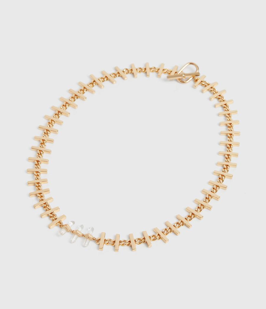 Womens Camila Gold Tone Semi-Precious Crystal Quartz Necklace (gold) - Image 3