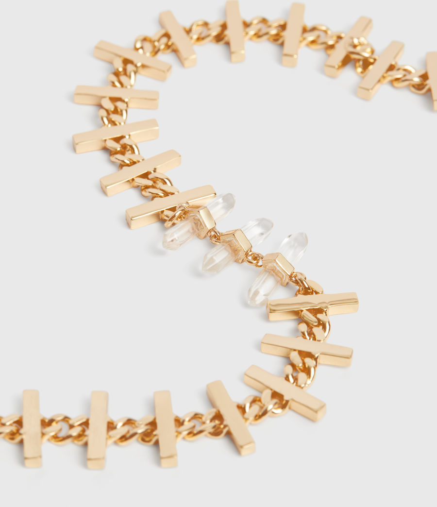 Womens Camila Gold Tone Semi-Precious Crystal Quartz Necklace (gold) - Image 5