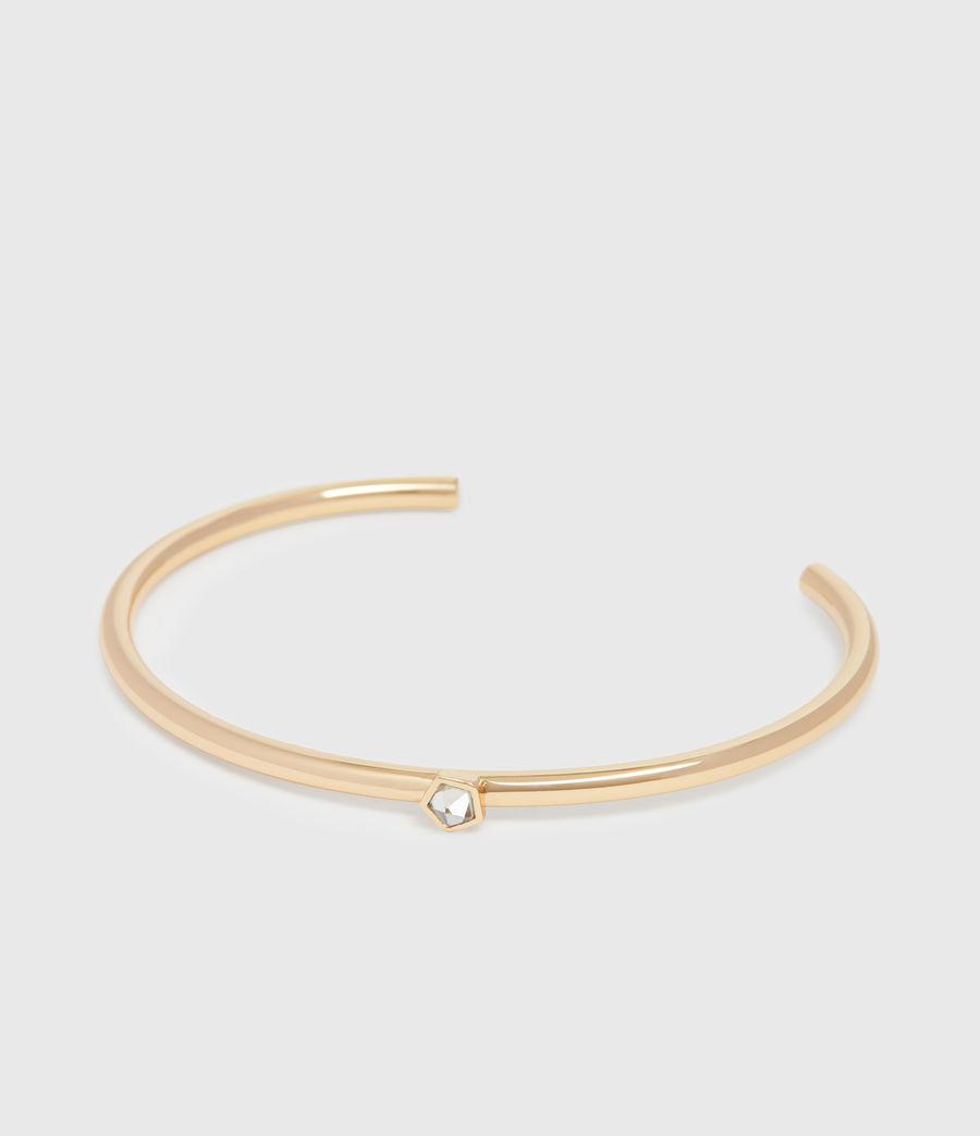 Women's Clarity Gold Tone Semi-Precious Crystal Quartz Cuff Bracelet (gold) - Image 3