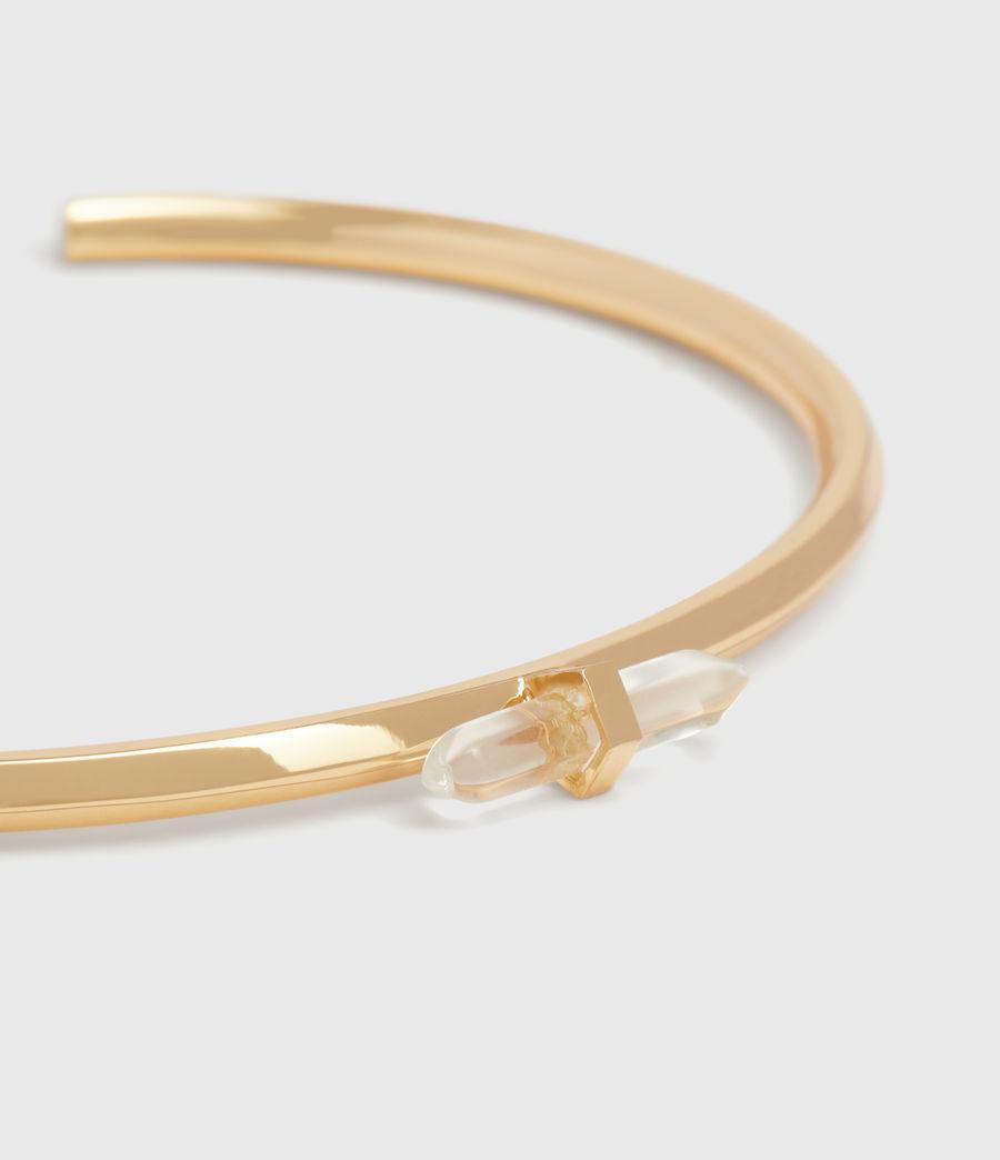 Women's Ella Gold Tone Semi-Precious Crystal Quartz Cuff Bracelet (gold) - Image 1