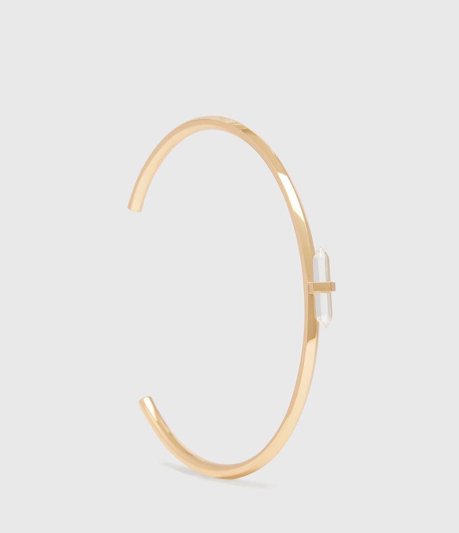Women's Ella Gold Tone Semi-Precious Crystal Quartz Cuff Bracelet (gold) - Image 2
