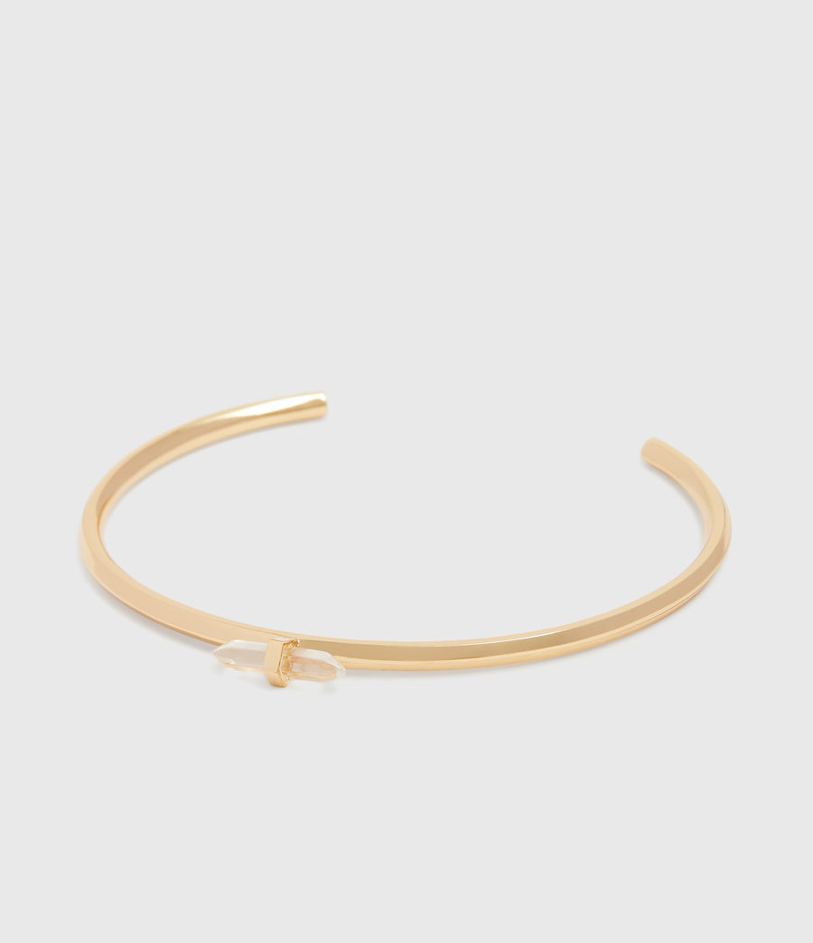Women's Ella Gold Tone Semi-Precious Crystal Quartz Cuff Bracelet (gold) - Image 3