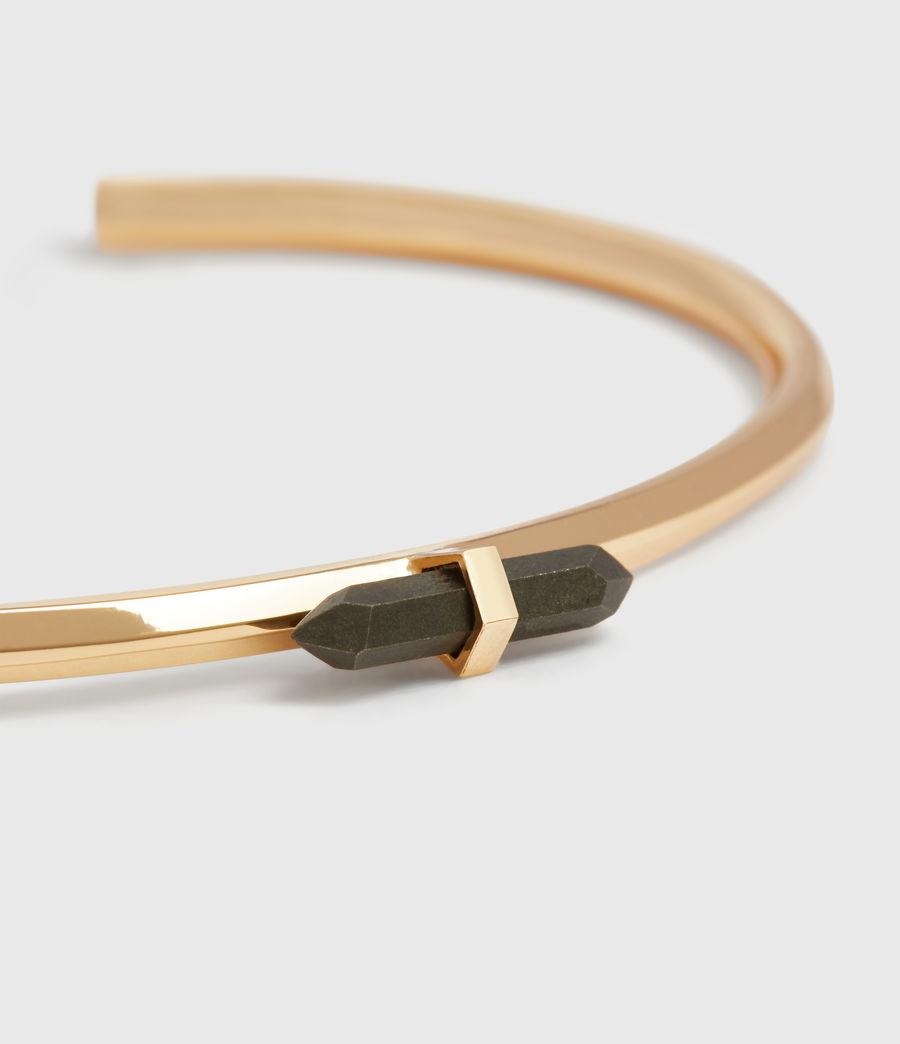 Women's Ella Gold Tone Semi-Precious Pyrite Cuff Bracelet (pyrite) - Image 1